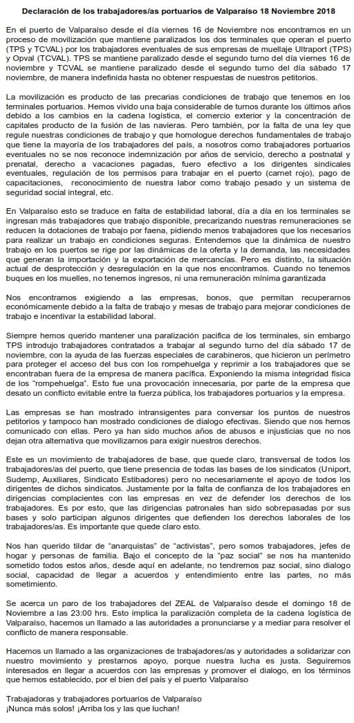 Comunicado trabajadores portuarios valparaiso 18 noviembre 2018_001