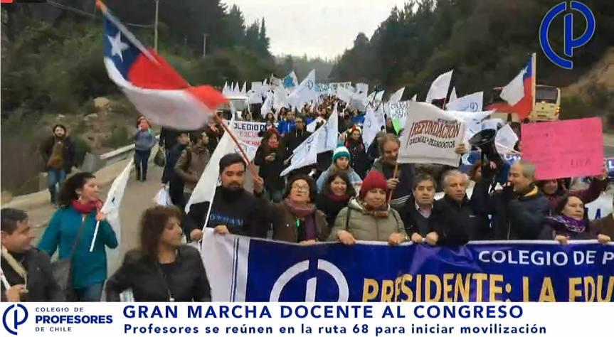 [VIDEO] #EnVivo: Gran marcha docente al Congreso Nacional enValparaíso