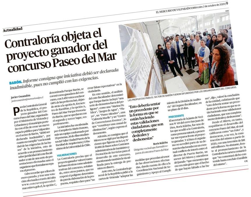 [OPINION] La noticia de hoy según Yo Quiero Mirar: Contraloria objeta al proyecto ganador del Paseo Barón (por GonzaloIlabaca)