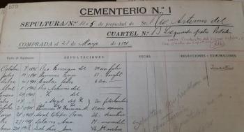 REGISTRO DE SEPULTACIÓN CEMENTERIO
