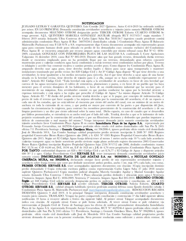 Publicacion Notificacio Diario La Quinta, condominio con Inmobiliaria_001