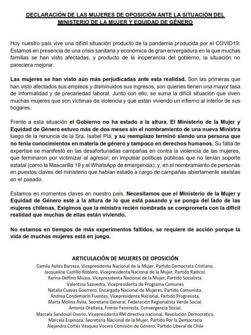 Declaración Mujeres Oposición - Nombramiento Ministra de la Mujer y Eq de Género. FINAL_001