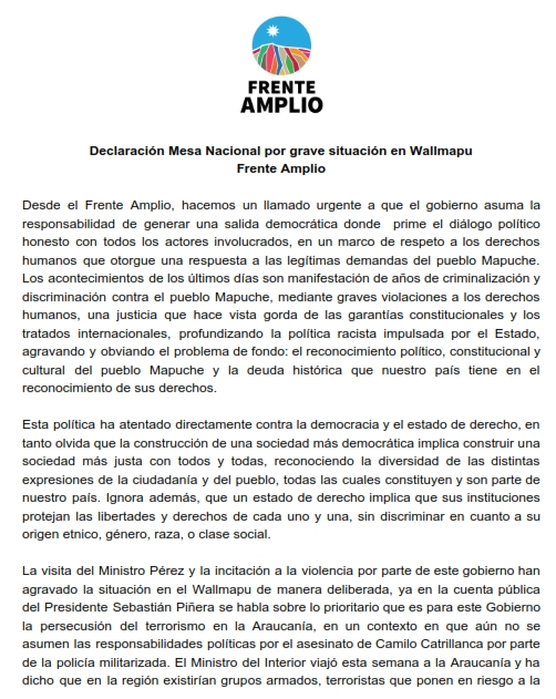 Declaración Mesa Nacional por grave situación en Wallmapu_001